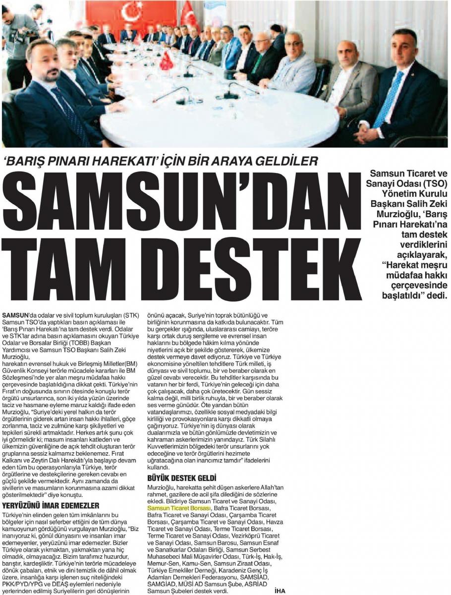 Samsun'dan Tam Destek