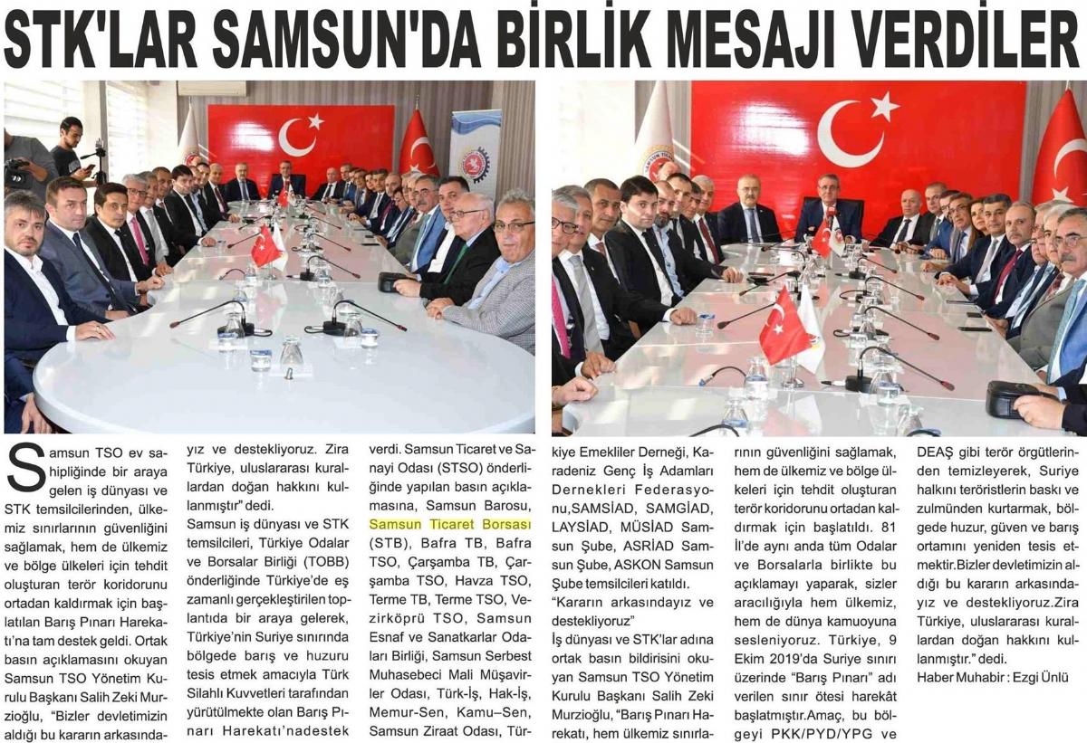 STK'lar Samsun'da Birlik Mesajı Verdiler