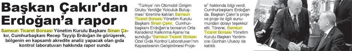 Erdoğan'a Rapor Sundu