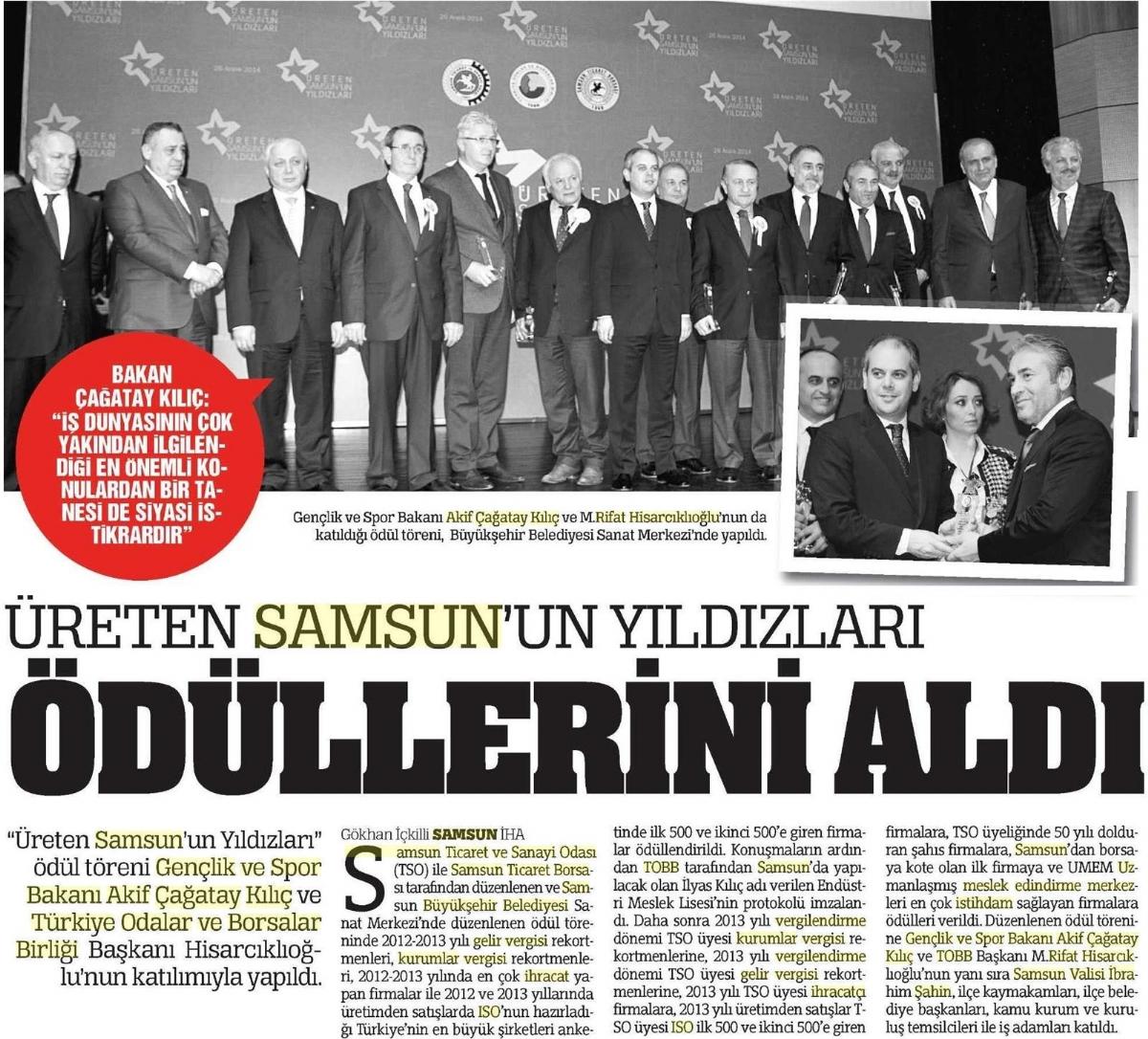 Üreten Samsun'un Yıldızları Ödülleri Aldı