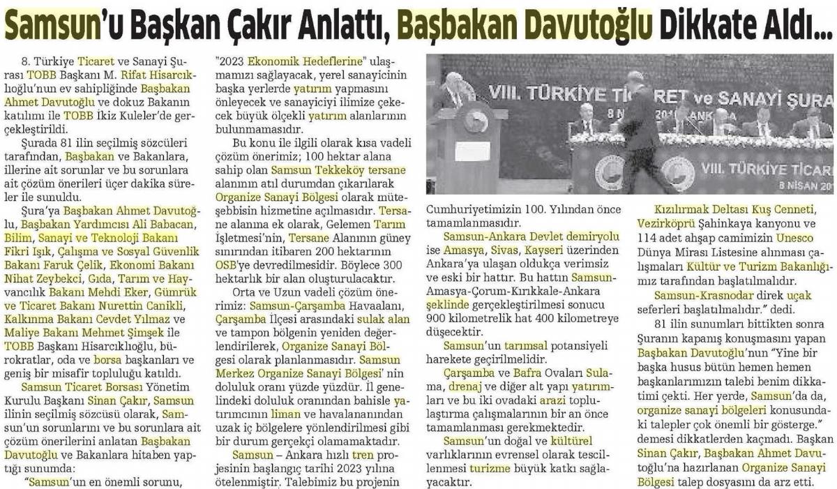 Samsun'u Başkan Çakır Anlattı Başbakan Davutoğlu Dikkate Aldı