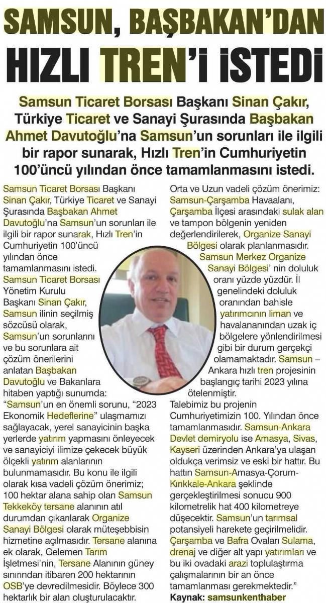 Samsun Başbakandan Hızlı Treni İstedi