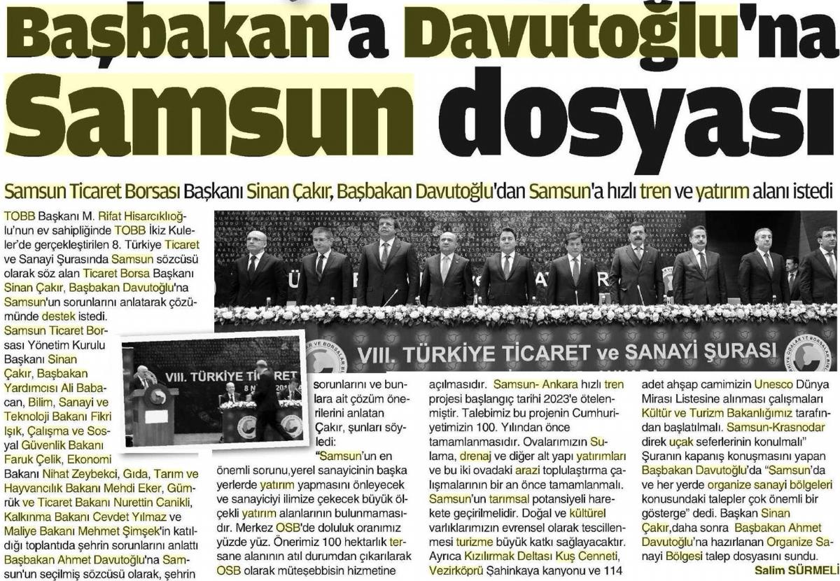 Başkan Davutoğlu'na Samsun Dosyası