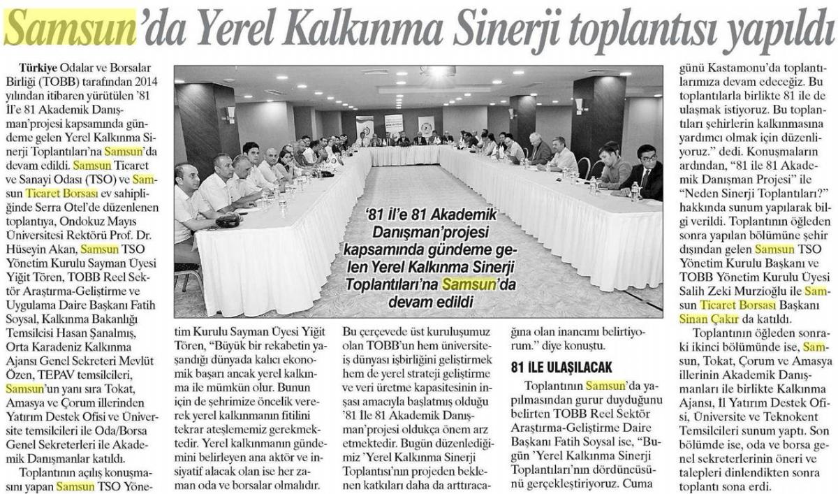 Samsun'da Yerel Kalkınma Sinerji Toplantısı Yapıldı