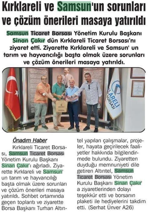 Kırklareli ve Samsun'un Sorunları ve Çözüm Önerileri Masaya Yatırıldı.