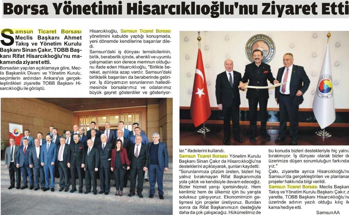 Borsa Yönetimi Hisarcıklıoğlu'nu Ziyaret Etti