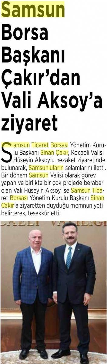 Samsun Borsa Başkanı Çakır'dan Vali Aksoy'a Ziyaret